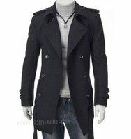 FALL-2016 الشتاء سحر الرجال خمر خندق معطف أنيق رجل يندبروف معطف أسود، كاكي M-4XL تصميم الكلاسيكية الرجال خندق معطف 1