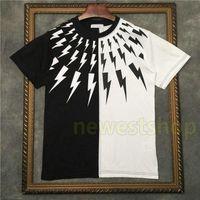 2021 Sıcak İlkbahar Yaz Avrupa Siyah Ve Beyaz Dikiş T Gömlek Erkek Geometri Baskı Tişört Moda Erkekler Bayan T Shirt Rahat Pamuk Üst Tee