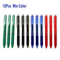 Delvtch 12pcs / set 0.5mm Erasable Gel Pen Retrátil botão Slide Press Erasable Pena Vermelho / Azul / Preto Escola de Escritório de Tinta Escrita 201202