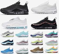 الأزرق عيد الفصح الأحذية النسائية لعبة وسادة الثلاثي أحذية رياضية أورورا المشي المدربين الفضة رجل الركض الأبيض Air Max 97 Shoes 97S الرياضة الجري