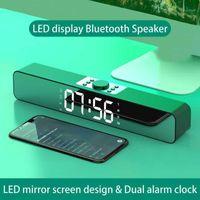 Ayna Ekran TV Ses Bar Çift Çalar Saat AUX USB Kablolu Kablosuz Bluetooth Hoparlör Ev Sineması Surround Soundbar PC TV1 için