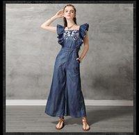 Kadın Tulumlar Tulum 2021 Yaz Moda Baskı Feifei Kollu Denim Tulum Düz Yüksek Bel Görünüm Vintage Nakış Casual Com