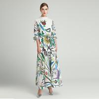 Milan pist elbiseler 2021 standı yaka 1/2 kollu yüksek son jakarlı tasarımcı elbise markası aynı stil elbise 1218-26