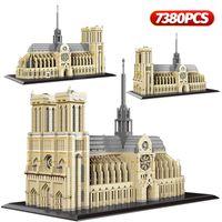 7380PCS + Diamond Mini Notre-Dea de Paris Модель Строительные Блоки Церковь Архитектура Тибет Потала Дворцовый Кирпич Игрушки для детей Q1126