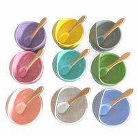 Silikon Baby Ergänzende Schüssel Baby Geschirr Splitterbeständiger Schüsseln Löffel Sets Lebensmittelkieselkieselgelschale DHB3521