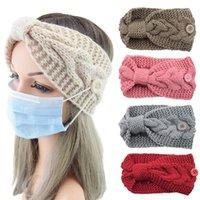 Haarklammern Barrettes Weiche Strickstirnbänder mit Knöpfen für Gesichtsmaske Haarbänder Frauen Warme Herbst Winter Mädchen Headwear Zubehör1