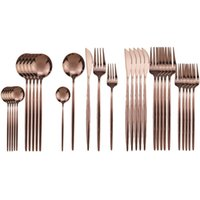 30Pcs Rose Cutlery Set 304 Stainless Steel Dinnerware Set Di...