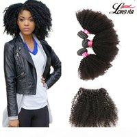 Перуанские arfo kinky волосы плетены с закрытием Свободная часть 100% человеческие волосы 3 пакета с кружевной замыканием Афро странные кудрявые человеческие волосы