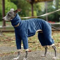 겨울 애완 동물 의류 높은 칼라 4 다리 솔리드 컬러 따뜻한 편안한 개 코튼 코트 Jumpsuit 201127