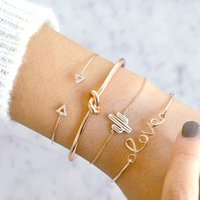 4 Stück Set Handkettenarmband Set Liebesbrief Kaktus geknotete Diamant-Kristall-Charme-Armband-Frauen-Mädchen Luxus-Designerschmuck