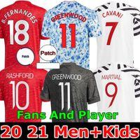 Jogador Versão 2020 2021 Manchester Soccer Jersey Unido Cavani Utd Van de Beek B. Fernandes Rashford Camisa de Futebol 20 21 Man + Kids Kit