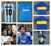 مارادونا ريترو 1986 الأرجنتين دييغو لكرة القدم الفانيلة 1978 بوكا جونيورز 1981 خمر نابولي 1987 1988 كرة القدم قميص كرة القدم كيت كلاسيك بلايز