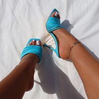 정사각형 발가락 여자 슬리퍼 신발 여름 노새 샌들 멀티 매듭 섹시한 하이힐 슬라이드 숙녀 로마 신발 여성 슬리퍼