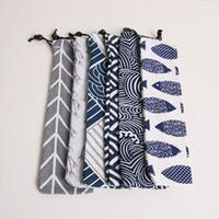 Algodón de lino bolsa de paja bolsa de almacenamiento bolso paquete de bolsillo vajilla portátil cordón cuchara palillos bolso de tela