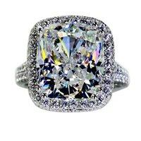 Размер 5-10 ручной работы роскошные ювелирные изделия стерлингового серебра 925 большие белые топаз CZ Diamond Sona Gemstones женщин свадебное кольцо для подарка влюбленности