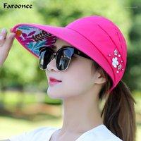 Faroonee Летние Солнца Шляпы Женщины Широкий Большой Большой Breim Флоппи Бак Печать Складной Защита Солнца Ультрафионеразненные Летние Шляпы CapsS60371