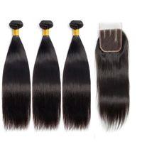 Modern show rak mänskligt hår buntar brasilianska remy hår 3 buntar med stängningar 100% mänskligt hår 8a / n5 betyg