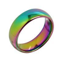 Moda 5mm larghezza Tungsteno carburo di carburo arcobaleno anelli di nozze per donna uomo uomo alto cupola lucida band dimensione gratis 5-11 incisione gratuita Y1209