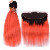 أورانج أومبير البرازيلي حزمة الشعر البشري صفقات مع الدانتيل أمامي إغلاق 13x4 مستقيم # 1B البرتقال أومبير عذراء الشعر ينسج مع الأمامي