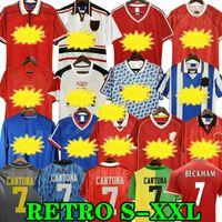 Manchester United Retro 2002 Cantona Soccer Jersey Fútbol Giggs Scholes Beckham Ronaldo Solskjaer Robson Keane Carrick 06 07 08 94 96 97 98 99 86 88 1990