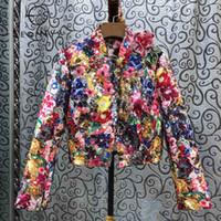 SEQINYY Lüks Ceket 2020 İlkbahar Sonbahar Yeni Moda Tasarım Boncuk Sequins Kristal Renkli Çiçekler Baskı Jakarlı Üst Kadınlar LJ201021