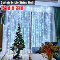 12m x 3m 1200-LED 110V Cordas Quentes Luz Branca Romântico Casamento De Natal Ao Ar Livre Decoração Cortina String Luzes Us Standard