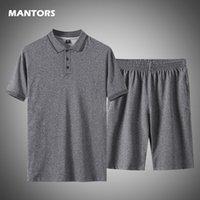 Casual Erkekler Set Polo Gömlek İki Adet Set 2020 Yaz erkek Eşofman Pamuk Spor Tshirt + Şort Parça Takım Elbise Büyük Boy 5XL T200707