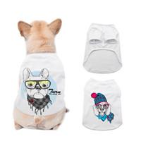 Sublimação Branco Branco DIY Pet Dog Sem Mangos Sem Mangas Colete Fino Pequeno Pet Transferência de Calor Impressão Pet T-shirt Sea Grátis Lla302