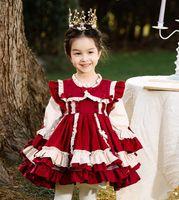 DHL бесплатный высококачественный стиль в Испании стиль девочка платье изысканный цветок лук с длинным рукавом принцессы платье платье на день рождения