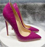 Ücretsiz Kargo Perçin 8 cm / 10 cm / 12 cm Artı Boyutu 45 Kadınlar Yüksek Topuk Stiletto Topuklu Sivri Toes Toz Çanta ile Kırmızı Sole Kırmızı Alt Ayakkabı Pompalar
