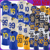 30 Todd Gurley Futebol Jerseys 99 Aaron Donald 10 Kupp 16 Jared Goff 32 Eric Weddle 2020 Novo Top Quality Jerseys Gurley Donald Goff Geof