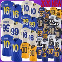 30 Todd Gurley футбольные трикотажные изделия 99 Aaron Donald 10 KUPP 16 JARED GOFF 32 ERIC WEDDLE 2020 новое высшее качество майки Gurley Donald Goff Beddle