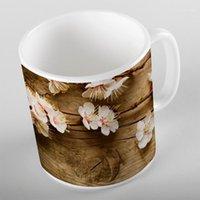 Tazas más marrón de madera en blanco Flores Floral Impresión 3D Regalo Cerámica Beber agua Oso Taza de café Taza Cocina1