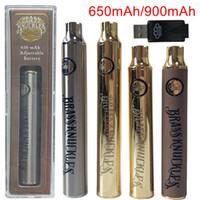 BK Messing Knöchel Batterie E Zigarette Vape Stift 900mAh Batterien Gold Holz SS Einstellbare Spannung Vorheiz VV-Batterien für Ölpatronen