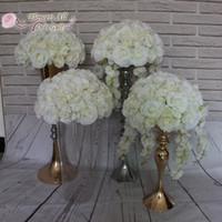 Künstliche Blumen-Kugel-Mittelstück für Hochzeitsfest Kulisse Dekoration Verwendung Elfenbein Rose und Hortensien
