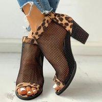 2021 Nuove donne Semmer Sistecchi Sandali tacco quadrato Peep Toe Hollow Out Maglia Zip Zip Leopardo Tacchi alti Casual Fashion Ladies Pompe 8T6Y