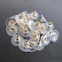 1000 pcs / lote de ouro banhado a prata voando forma de disco brinco de backs backs sarnários Earring plugues liga encontrar componentes de acessórios de jóias