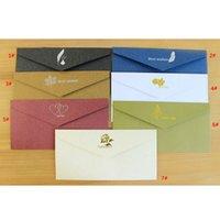 Vintage Bronzing-Einladungen Karten Umschlag Kraftpapier Business-Einladungskarte Umschläge Hochzeits-Party lädt anpassbare PPD3727 ein