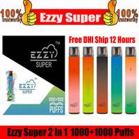 Ezzy Super 2 in 1 Design Einweggerät Kit 2000 Puff 900mAh 6.5ml Pod vorgefestigt Vape Pen vs Kangvape Onee Bang Bar plus XXL MAX FLOW