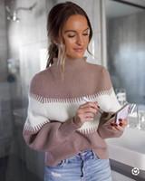 여성용 스웨터 여성 스웨터 긴 소매 컬러 블록 스 플라이 싱 패션 수직 스트라이프 패브릭 구덩이 루스 니트 탑 여성용 풀오버
