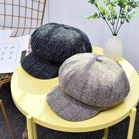 cotone lana Berretti autunno inverno di Baldauren donne ottagonale Berretti Moda artista pittore cappello strillone grigio nero