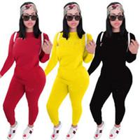 Женщины сплошной цвет 2 частей набор трексуит осень зима одежда рубашка брюки наряды верхняя одежда наголовок спортивная одежда пуловер боди горячий продавать 1012