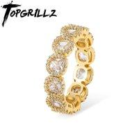 TopGrillz 2020 Nuovo 27mm anelli zirconi colore oro di alta qualità rame ghiacciato anelli hip hop moda gioielli regalo per gli uomini donne