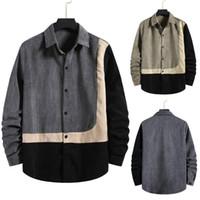 Neue Hemden Herrenmode Herbststreifen Print Jacke Hemd Plus Size Cord-Taste TOP Langarm Casual Chemise Homme