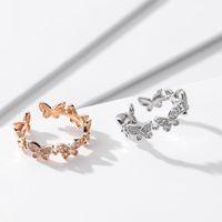 أزياء روز الذهب الرقص فراشة خواتم الحشرات المفتوحة قابل للتعديل فراشة اصبع خواتم للنساء الفتيات مجوهرات 20201