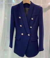 QUALITÉ Bouton Royal Blue Blazer long double boutonnage argent blazers FASHION HIGH Femme 2020 NOUVEAU