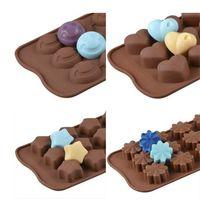 FAI DA TE Silicone Rettangolo Stampi Simulazione Cioccolato Cookie Stampo a forma di cuore Star Stella Carino Pattern Easy Demoulding Cucina Cucina Strumenti E121601