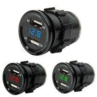 자동차 담배 라이터 듀얼 USB 오토바이 충전기 소켓 충전기 + LED 디지털 전압계 미터 모니터 3 색상 1