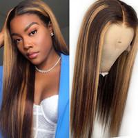 # 4 / 30 하이라이트 컬러 인간의 머리 가발 프리 뽑아 낸 레이스 프론트 인간의 머리 가발 옴 브레 흑인 여성을위한 잘 발라한 정면 가발