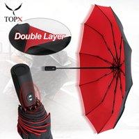 Double Couche Automatique Umbrella Rain Femmes 3 Fold Eductionnelle Femme Femme Mâle 10k Grand Parasol Hommes Business Umbrellas Parasol 201104